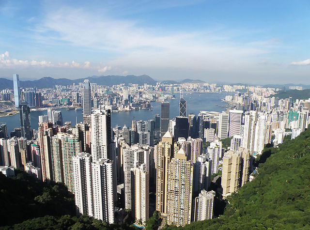 Hong Kong Island north coast, Victoria Harbour and Kowloon in Hong Kong.