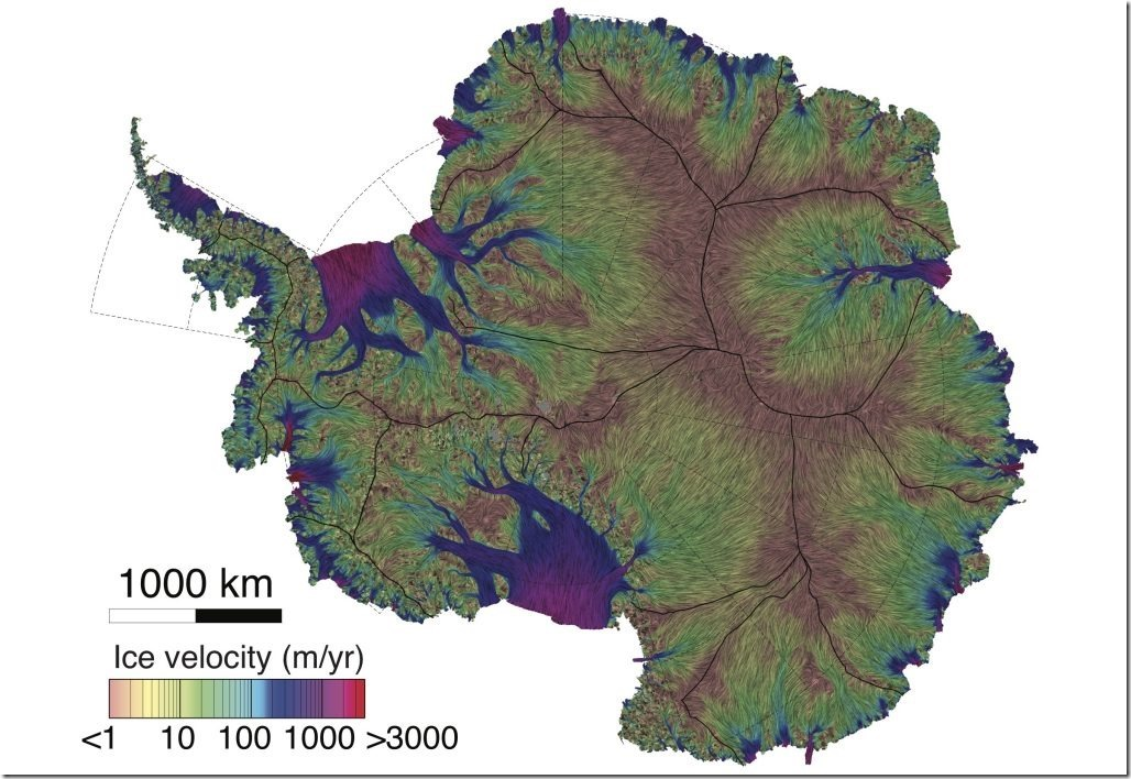 A new map of Antarctic ice velocity constructed from nearly a quarter century's worth of satellite data. Credit: AGU