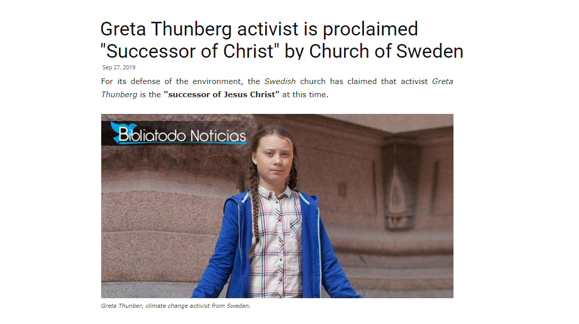 """Climate activist Greta Thunberg proclaimed """"Successor of Christ"""" by Church of Sweden"""
