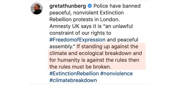 Greta Thunberg urging lawbreaking