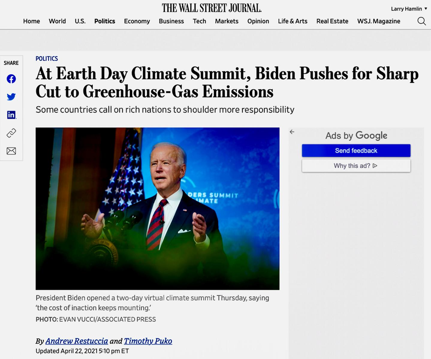 Wall Street Journal hypes Biden's climate alarmist absurd emissions reductions propaganda schemes